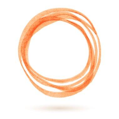 Orange marker circle. Round highlighter hand drawn frame.