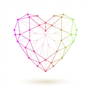 Wireframe colorful heart. Love symbol collected of dots and lines.