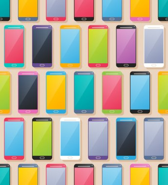 Colorful smartphones seamless pattern. Flat style.