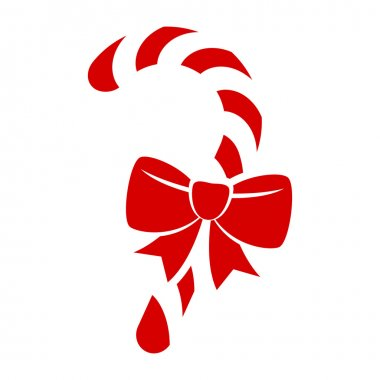Red candy cane with bow icon.