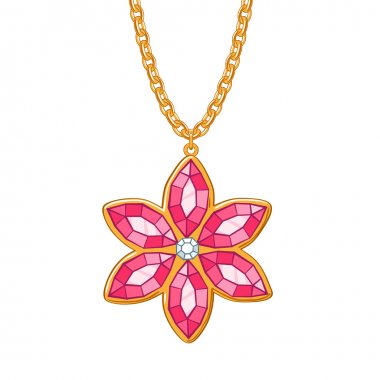 Hand drawn red flower pendant necklace. Rubies and diamond jewelry. Good for t-shirt design. stock vector