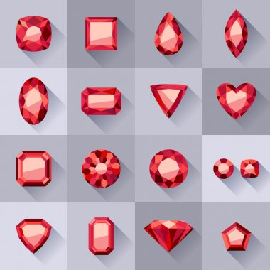 Set of flat style red jewels.