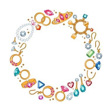 Jewelry items round frame background.