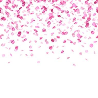 Pink confetti background. Seamless horizontal pattern. Metallic foil. clip art vector