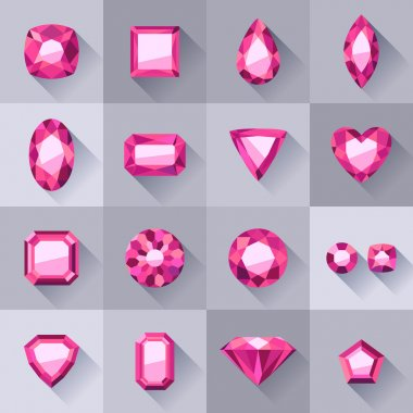 Set of flat style pink jewels.