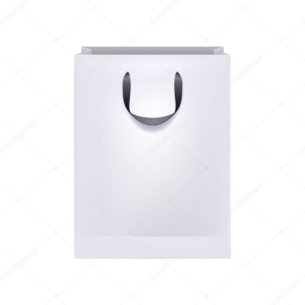 Blank white paper bag with black handles. — Stock Vector ...White Paper Bag Vector
