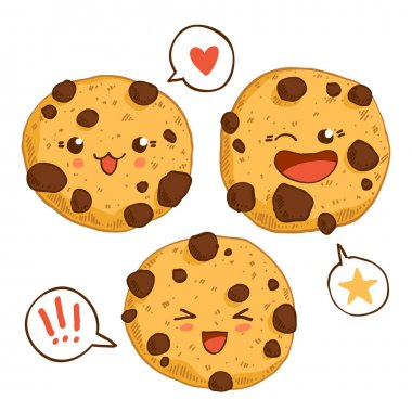 Group of three cute kawaii cookies.