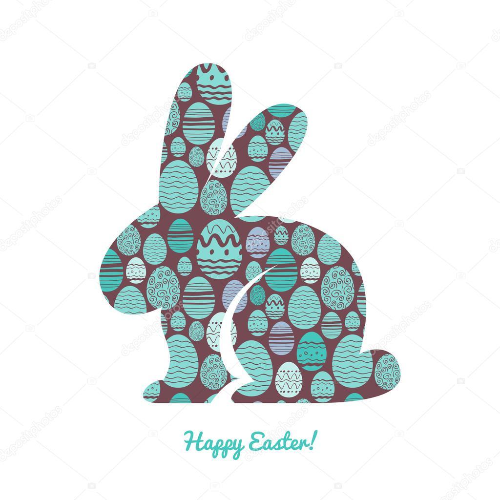 Silueta de conejito de Pascua con el patrón de huevo — Archivo ...