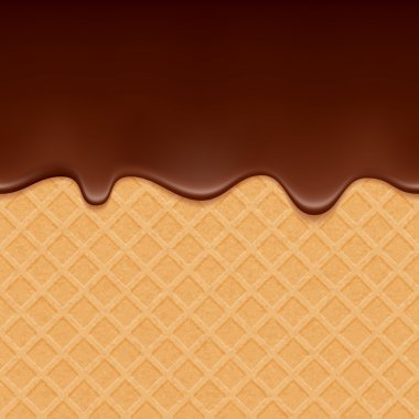 Wafer and flowing chocolate - vector background.