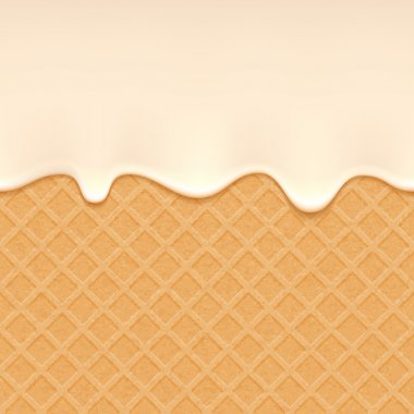 Wafer and flowing cream - vector background.