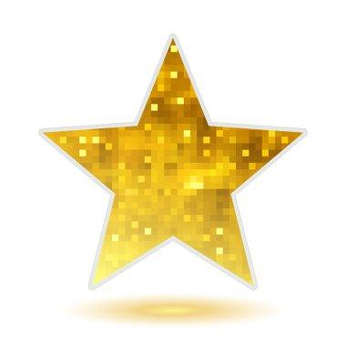 Golden mosaic faceted glitter star.