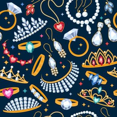 Jewelry items seamless dark background.