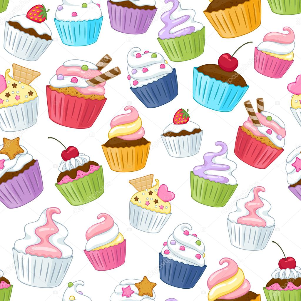 Cupcake Wallpaper: Seamless Cupcakes Pattern. Colorful Background.