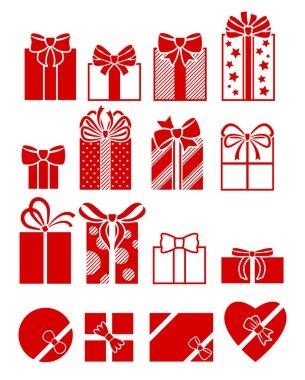 Gift boxes flat icons set.