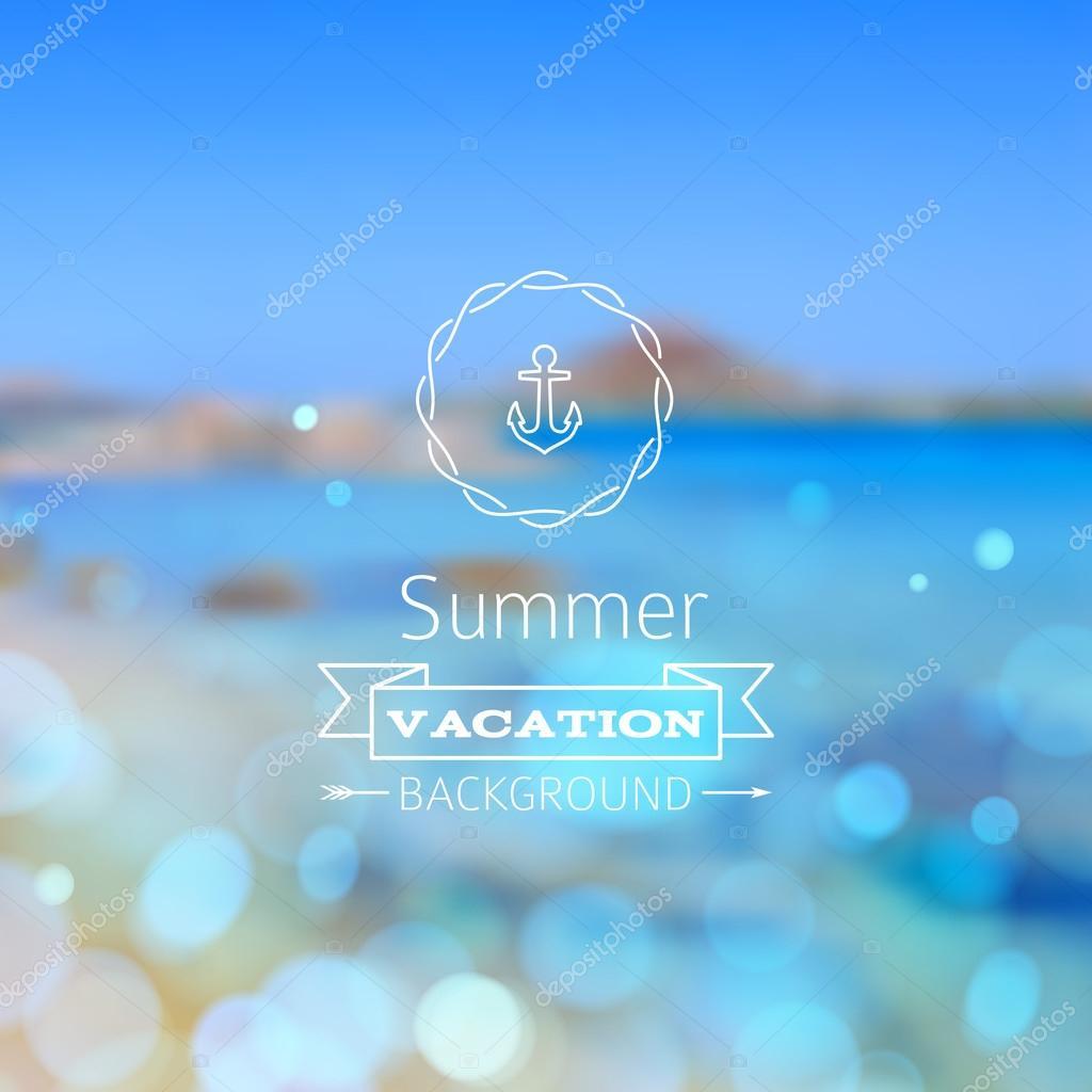 Vector seaside blurry summer landscape.