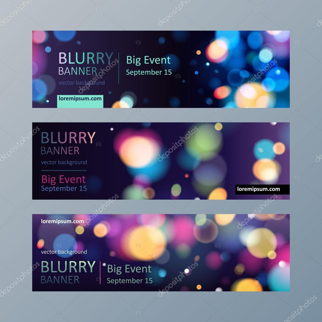 Set of blurry bokeh banners templates.