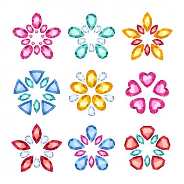 Colorful gemstones jewelry symbols set. Star shape.