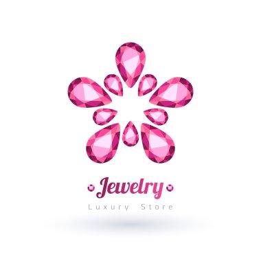 Pink gemstones jewelry symbol. Flower shape.