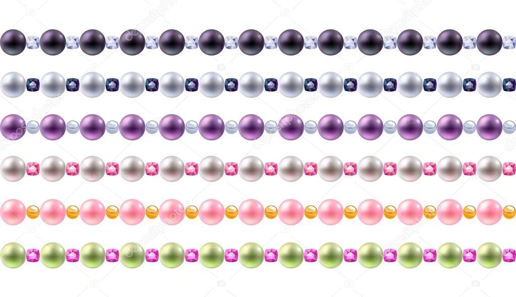 Colorido conjunto de fronteras de perlas y piedras preciosas ...