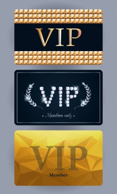 VIP cards with abstract backgrounds.