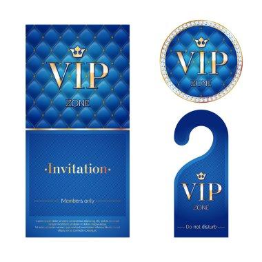 VIP invitation card, warning hanger and badge.