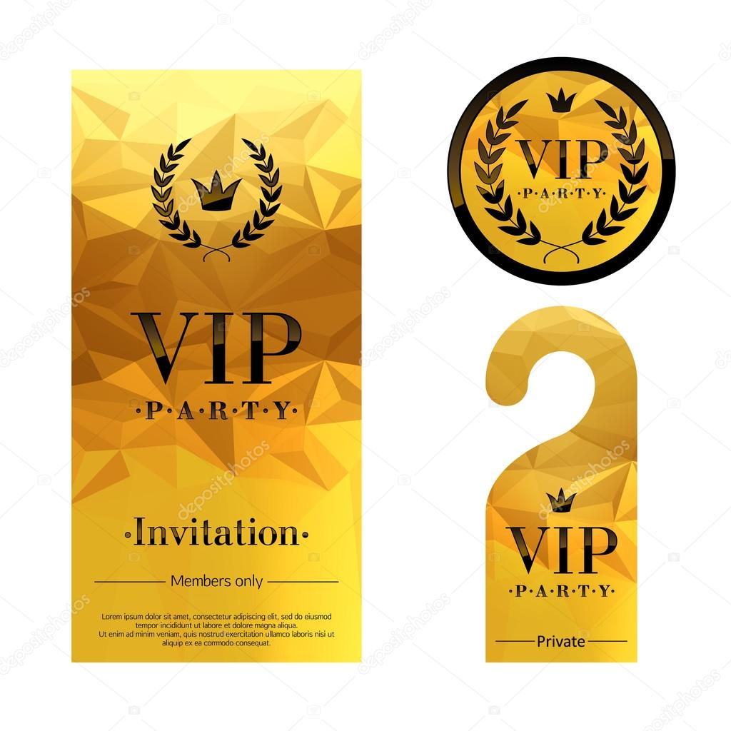 VIP party invitation card, warning hanger and badge. — Stock Vector ...