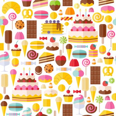 Sweet food icons seamless pattern. Candy, sweets, lollipop, cake, donut, macaroon, ice cream, jelly background stock vector