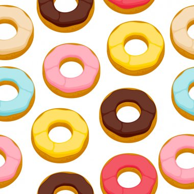 Colorful donuts cookies seamless background.