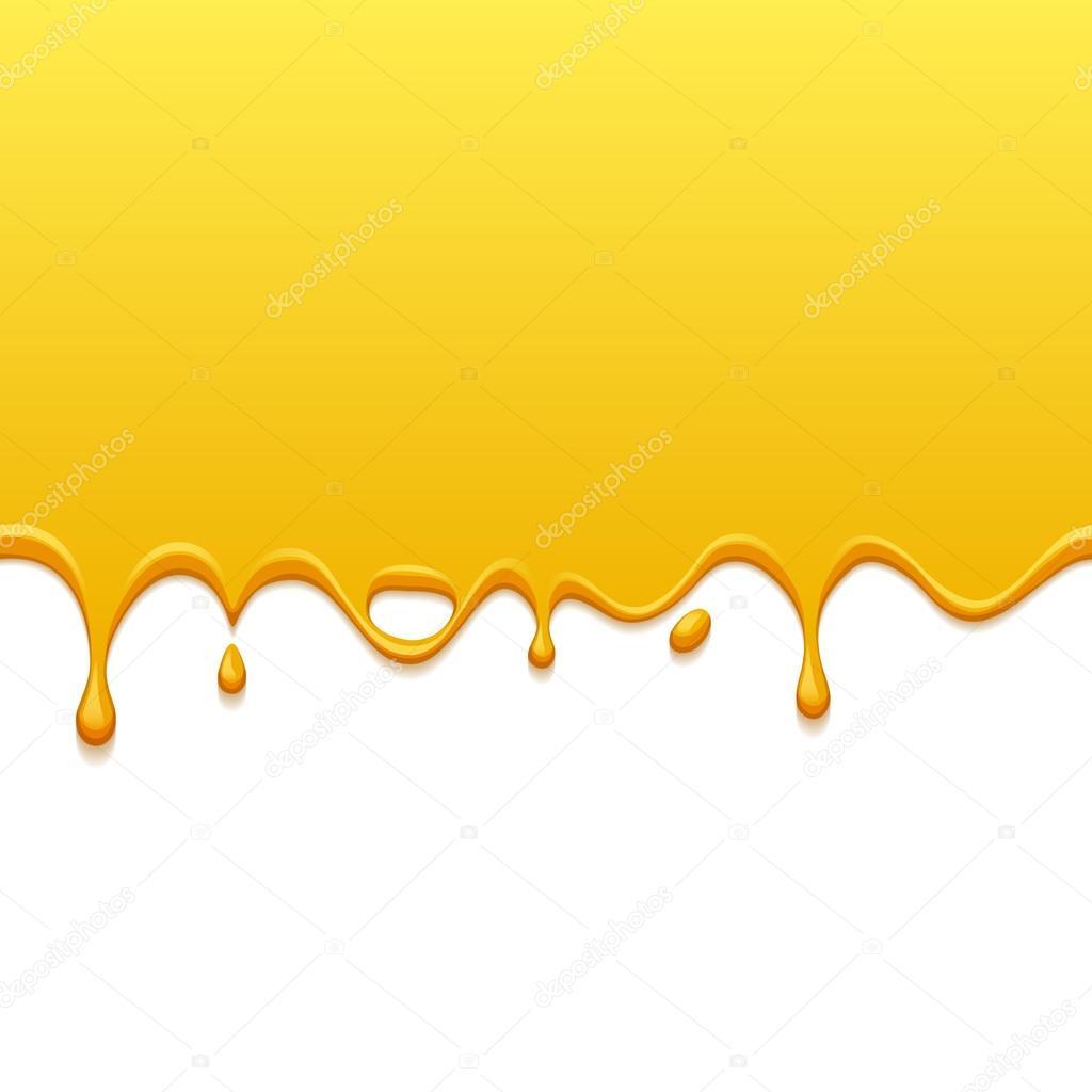 흰색 뒷면에 노란색 드립입니다. 페인트 또는 꿀 방울 — 스톡 ...