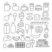 Különböző élelmiszer vázlat ikonok.