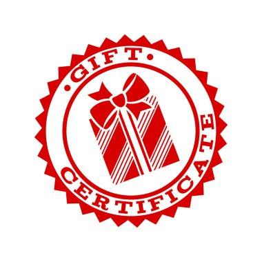 Gift certificate emblem symbol template. Vector illustration clip art vector