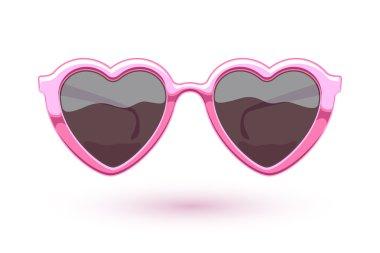 Heart shaped pink metallic sunglasses illustration.
