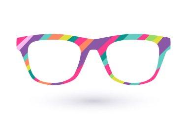 Colorful glasses frame logo icon simbol. Diagonal lines flat colors design stock vector