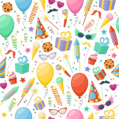 Celebration party carnival festive icons seamless pattern.