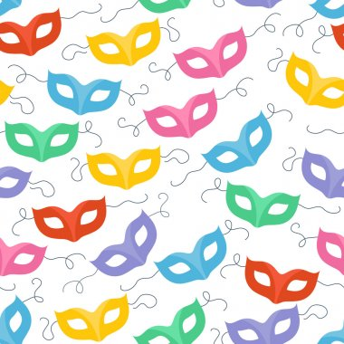 Colorful masquerade carnival masks seamless pattern.