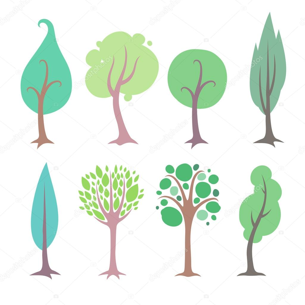 Set of simple flat style trees.
