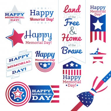 USA national celebrations badges set.