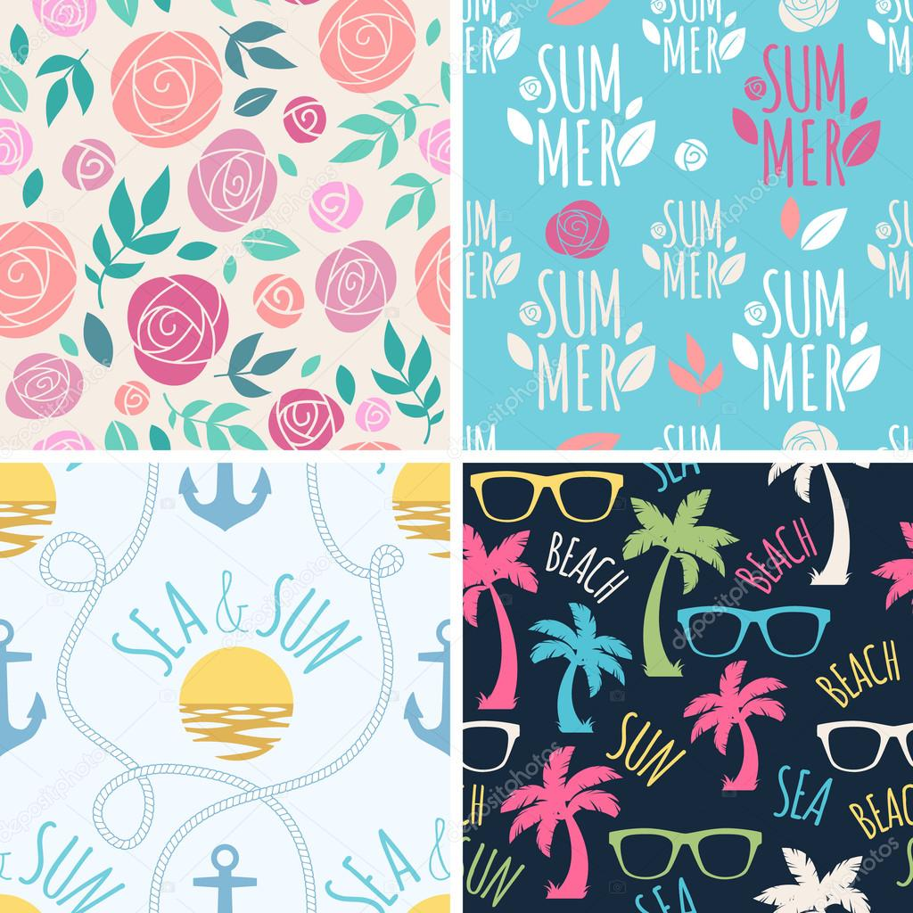 Seamless summer floral and holidays patterns set.