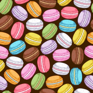 Seamless assorted macarons pattern.
