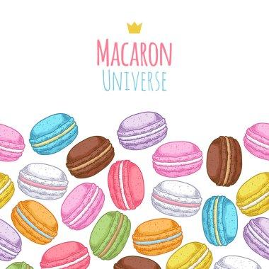 Seamless assorted macarons horiaontal pattern.
