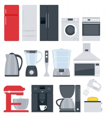 Kitchen home appliances icons set. Flat style.