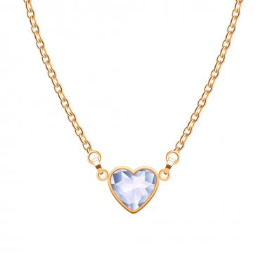 Golden chain necklace with heart diamond pendant.
