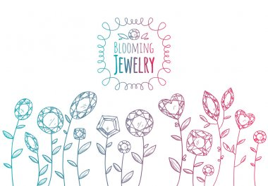 Jewels gemstones flowers hand drawn illustration.