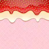 Pink wafer and flowing  sweet fillings - vector background.