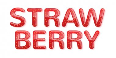 Strawberry jam word. Glossy letters.