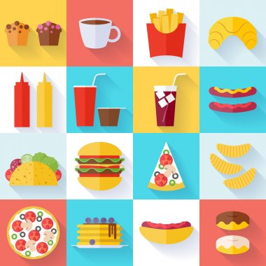 Fast food icons set - flat style. Cheeseburger pizza tea coffee cola chips pancakes donuts french fries hot dog vector illustration stock vector