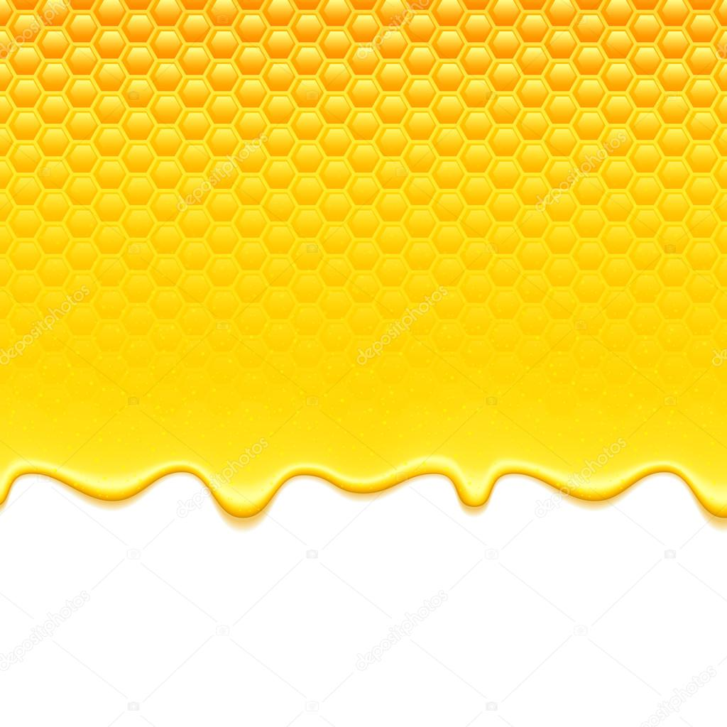 Yellow pattern with honeycomb and honey drips.