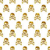 Goldene glitzernde Totenköpfe im verliebten nahtlosen Muster.