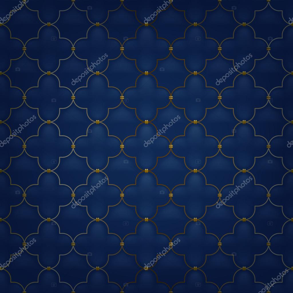 Padrão sem emenda acolchoado arabesco simples. Cor azul escuro — Vetor de  Stock 866d51b5be4c3