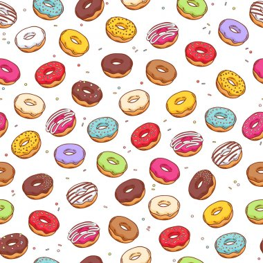 Colorful donuts seamless pattern. Doodle sketch style.